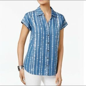 Style CO large Top Blue Ivory Stripe Button Down